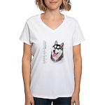 Siberian Husky Women's V-Neck T-Shirt
