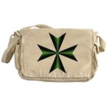 Green Maltese Cross Messenger Bag