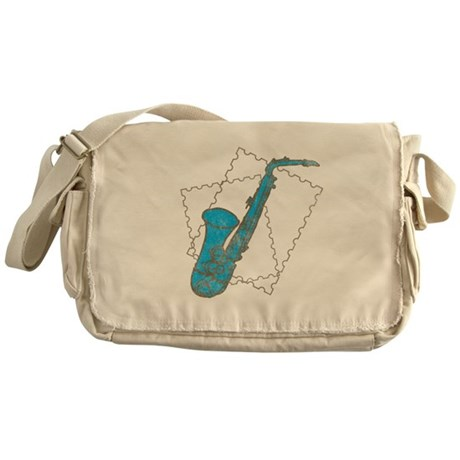 Blue Saxophone Messenger Bag