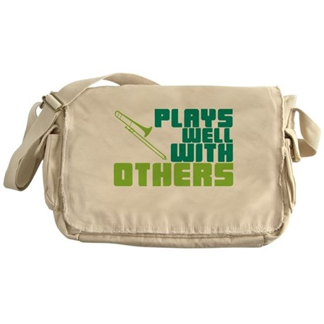 Trombone Plays Well Messenger Bag