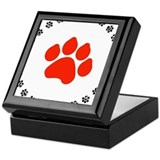 Red Paw Print Keepsake Box