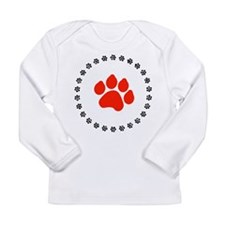 Red Paw Print Long Sleeve Infant T-Shirt