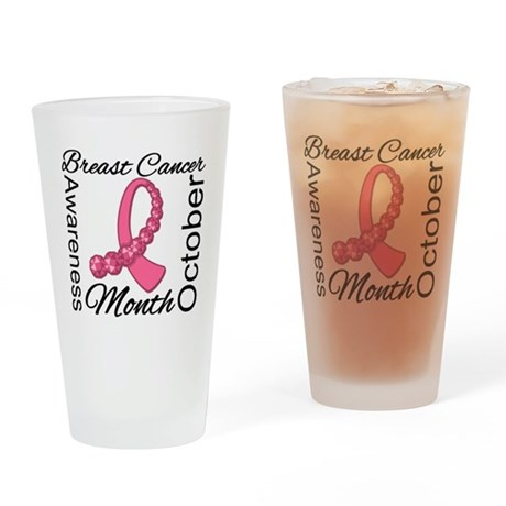 Awareness Month Breast Cancer Drinking Glass