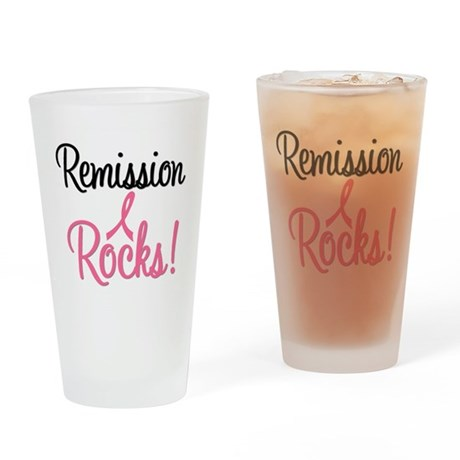 Remission Rocks Breast Cancer Drinking Glass