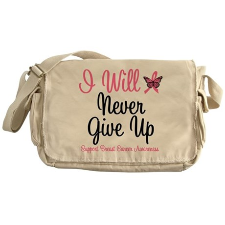 Breast Cancer Never Give Up Messenger Bag