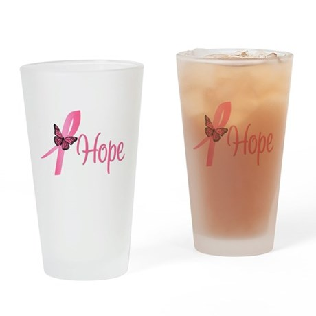 Breast Cancer Hope Drinking Glass