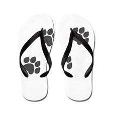 Black Paw Prints Flip Flops