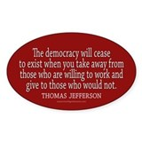 Jefferson Democracy Quote 2 Decal