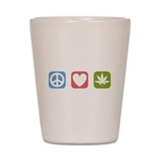 Peace Love Cannabis Shot Glass