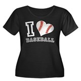 I Love Baseball Graphic Women's Plus Size Scoop Ne