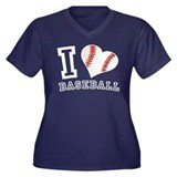 I Love Baseball Graphic Women's Plus Size V-Neck D