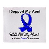 ColonCancerHeart Aunt Throw Blanket