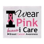 IWearPinkBecauseICare Throw Blanket