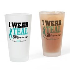 IWearTeal Sister-in-Law Drinking Glass