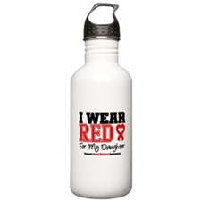 I Wear Red Daughter Water Bottle