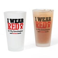 I Wear Red Granddaughter Drinking Glass
