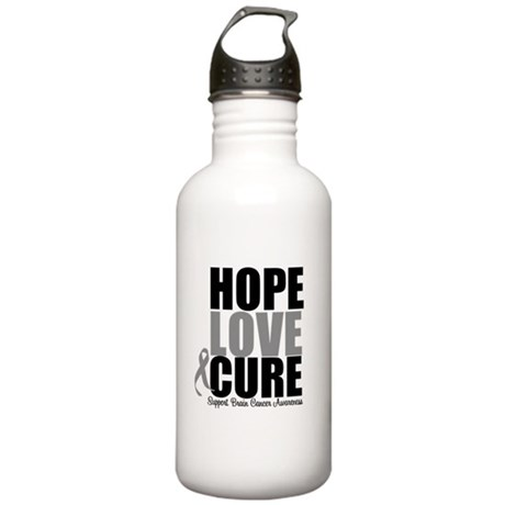 HopeLoveCure BrainCancer Stainless Water Bottle 1.