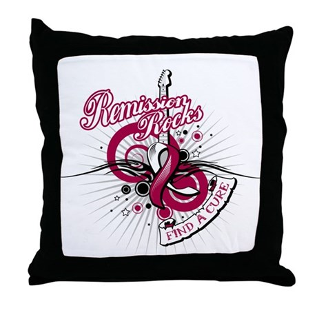 Throat Cancer Remission ROCKS Throw Pillow