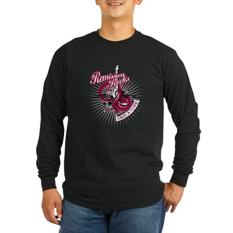 Throat Cancer Remission ROCKS Long Sleeve Dark T-S