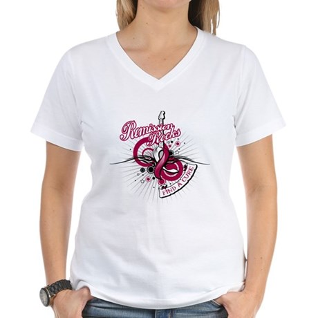 Throat Cancer Remission ROCKS Women's V-Neck T-Shi