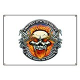 USN Navy Flaming Skull Banner