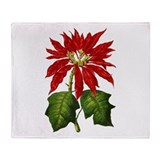 Botanical Poinsettia Throw Blanket