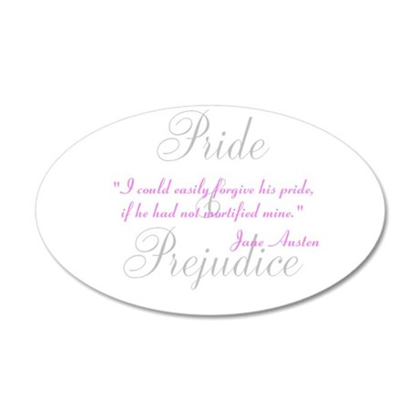 Jane Austen Pride Quotes Pape 38.5 x 24.5 Oval Wal