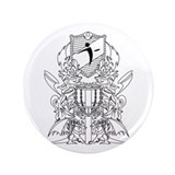 "Black/White Disc Golf Coat of Arms 3.5"" Button"