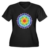 Crown Chakra Mandala Women's Plus Size V-Neck Dark