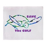 Sea Turtles Save the Gulf Des Throw Blanket