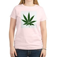 Simple Marijuana Leaf Women's Pink T-Shirt