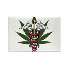 Medical Marijuana Caduceus Rectangle Magnet