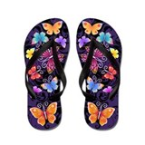 Swirls&amp;amp;Butterflies Dark Flip Flops