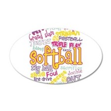 Softball 38.5 x 24.5 Oval Wall Peel
