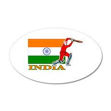 India Cricket Player 38.5 x 24.5 Oval Wall Peel