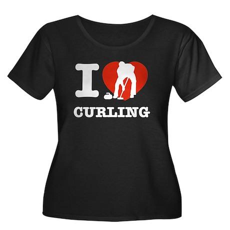 I love Curling Women's Plus Size Scoop Neck Dark T