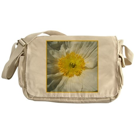 White Icelandic Poppy Messenger Bag