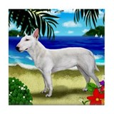 BULL TERRIER DOG BEACH Tile Coaster