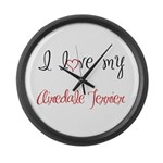 I Love My Airedale Terrier Large Wall Clock