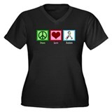 Peace Love Autism Women's Plus Size V-Neck Dark T-