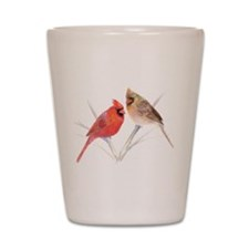 Northern Cardinal male & fema Shot Glass