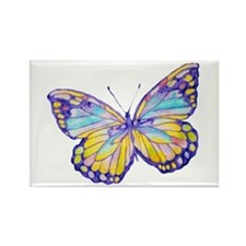 Purple Painted Butterfly Rectangle Magnet