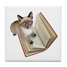 Kitten Book Tile Coaster