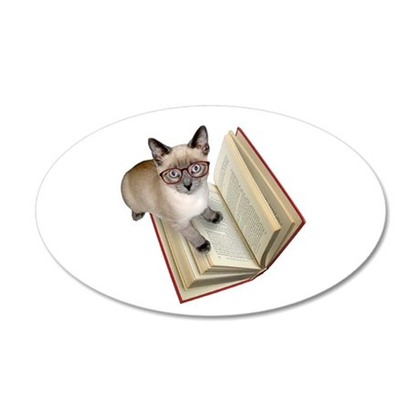 Kitten Book 20x12 Oval Wall Decal
