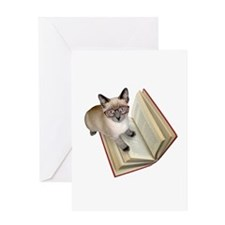 Kitten Book Greeting Card