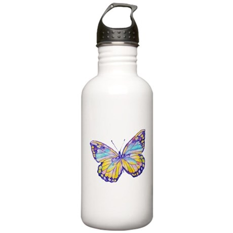 Purple Painted Butterfly Stainless Water Bottle 1.