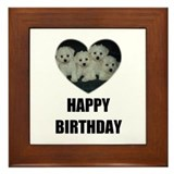 HAPPY BIRTHDAY BICHON PUPPIES Framed Tile