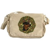 Miniature Pinscher Xmas Wreath Messenger Bag