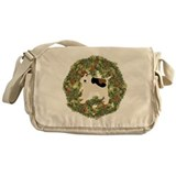 Wire Fox Terrier Xmas Wreath Messenger Bag