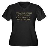 Belief in Science Women's Plus Size V-Neck Dark T-
